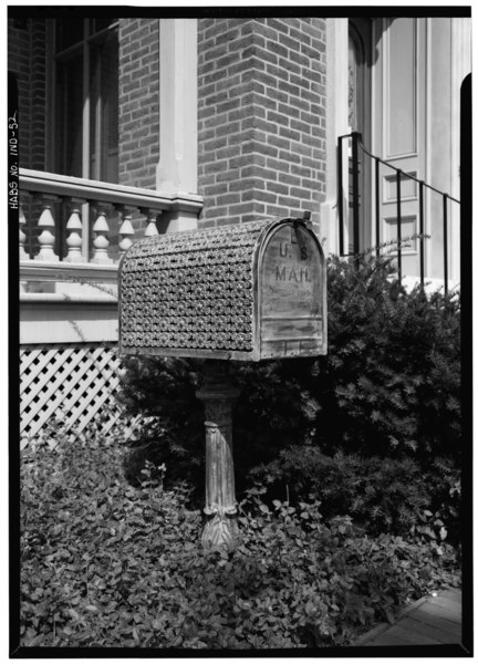 August 1970 DETAIL ORNAMENTED MAILBOX - Morris-Butler House, 1204 North Park Avenue, Indianapolis, Marion County, IN HABS IND,49-IND,9-13