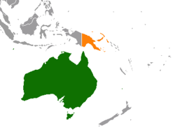 Map indicating locations of Australia and Papua New Guinea