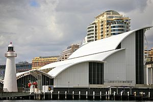 Australian National Maritime Museum - Side view of the ANMM building