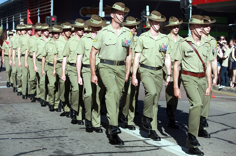 Australian soldiers with the 5th Battalion, Royal Australian Regiment march in an Anzac Day parade in Darwin, Australia, April 25, 2013 130425-M-AL626-013