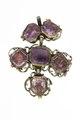 Av silver, 6 st åttkantiga, taffelslipade ametister av olika storlek, slätfattning - Livrustkammaren - 97831.tif