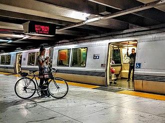 Embarcadero station - A BART train at Embarcadero station in 2016