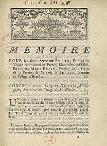 Maximilien de Robespierre, Mémoire pour les sieurs Antoine Pepin, fermier  au village de Baillœul lez,Pernes, lieutenant dudit lieu; François,Marie  Pepin,