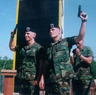 Jeff Struecker - SPC Isaac Gmazel and SSG Jeff Struecker upon winning the 1996 Best Ranger Competition at Fort Benning, Georgia.