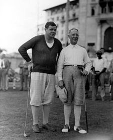 Smith golfing with baseball great Babe Ruth in Coral Gables, Florida, in 1930. Babe Ruth Gov.jpg