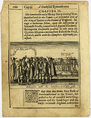 Babington family - Anthony Babington and co-conspirators are meeting before the Babington Plot is to commence.