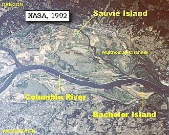 Multnomah people - Image: Bachelor and Sauvie Island map
