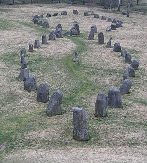 Stone ship - The two greatest stone ships at Anund's barrow in Sweden.