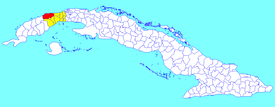Bahía Honda municipality (red) within  Artemisa Province (yellow) and Cuba