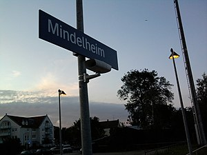 Mindelheim station - New sign on platform 1