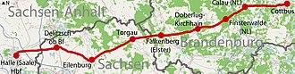 Halle–Cottbus railway - Image: Bahnstrecke Halle–Cottbus (Karte)