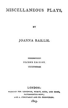Title page of Joanna Baillie's Miscellaneous Plays (London: Longman, Hurst, Rees, and Orme, 1804) (Source: Wikimedia)