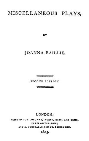 Joanna Baillie - Title page of Joanna Baillie's Miscellaneous Plays (London: Longman, Hurst, Rees, and Orme, 1804)
