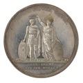 Baksida av medalj med bild av moder Svea som sätter en krona på Karl Augusts huvud, 1810 - Skoklosters slott - 99568.tif