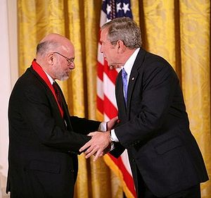 National Humanities Medal - Stephen H. Balch, political science professor, receives the National Humanities Medal from President George W. Bush