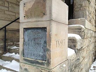 John Baldwin (educator) - Cornerstone dedicating the Baldwin Library