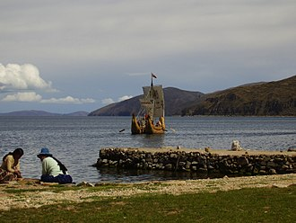 Lake Titicaca - Raft of totora on Lake Titicaca in the island of the Sun (Bolivia)