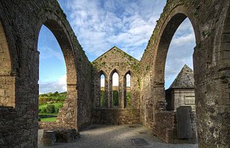 Baltinglass Abbey - Nave of the church. The 1832 tomb of the Stratford family is visible at right.