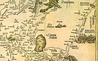 Banat - Banat in 16th century map Tabula Hungariae. Note the dramatic geographic changes — a large lake around Zrenjanin is today dried out