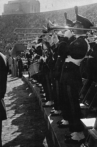 "Pitt Victory Song - The Pitt Band plays the ""Victory Song"" at the end of a 26-13 win over Notre Dame at Pitt Stadium during the 1956 Pitt football season"