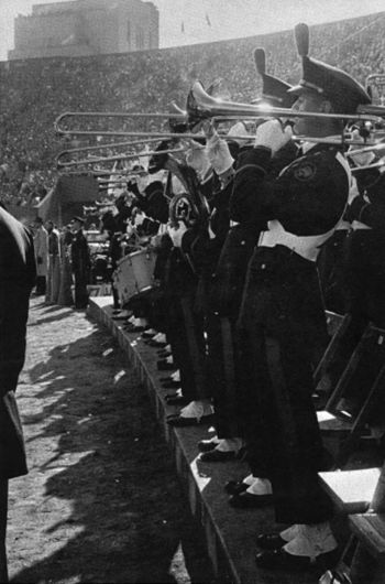 "The Pitt Band plays the ""Victory Song"" at the end of a 26-13 win over Notre Dame at Pitt Stadium during the 1956 Pitt football season BandVictorySongNDgame.jpg"