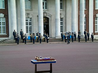 Band of the Royal Air Force College - The Band of the RAF College prepares for a graduation parade at College Hall.