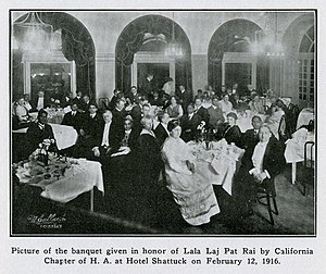Lala Lajpat Rai - A banquet given in honour of Lala Lajpat Rai by the California Chapter of the Hindustan Association of America at Hotel Shattuck in Berkeley on 12 February 1916.
