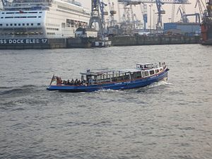 He lücht - Small Boat (Barkasse) used for tourist tours in Hamburg.