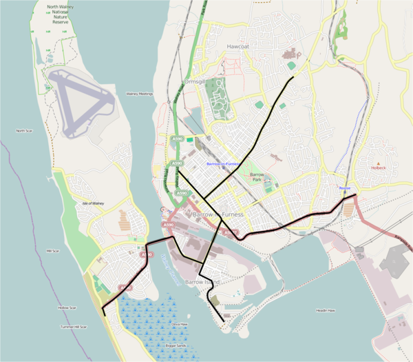 Contemporary map of Barrow showing all former tram lines in black.