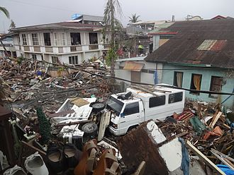 Typhoon Haiyan - Destruction in Basey, Samar after the typhoon passed over the town.