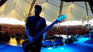 Marty O'Brien - Bassist Marty O'Brien on tour with Lita Ford, Texas, 2012.