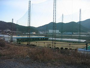 Outdoor public batting cage in Bubuk-myeon, Mi...