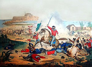 Expedition of the Thousand - Lithograph of Garibaldi and his Red Shirts at the Battle of Milazzo.