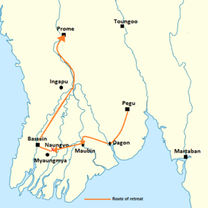 Battle of Naungyo - Path of retreat by Hanthawaddy forces
