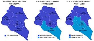 Batu Pahat District - Comparison of the parliamentary seat results in Batu Pahat district with PRU-12 (year 2008), PRU-13 (year 2013) and PRU-2014 (year 2018)