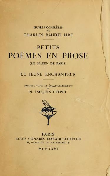 File:Baudelaire - Petits poëmes en prose, Conard, 1926.djvu
