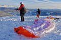 Bavallen flying site (flystad flygested) by Hanguren mountain Panoramic view towards mountains in the east Paragliders pilots November Snow Low sunlight etc Voss Norway 2019-11-20 0670.jpg