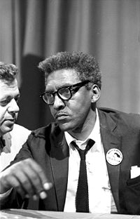 {{w|Bayard Rustin}} at news briefing on the Ci...