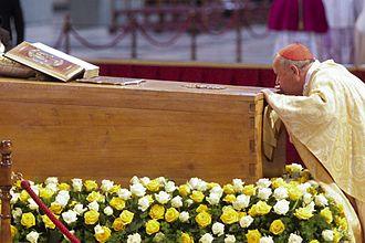 Beatification of Pope John Paul II - Cardinal Stanisław Dziwisz kisses the casket of John Paul II