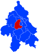 Location of Čukarica within the city of Belgrade