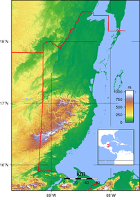 Topographic map of Belize. Created with GMT fr...