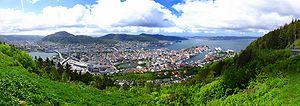 Bergen panoramic photograph taken from Fløyen mountain