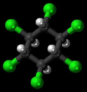 Beta-Hexachlorocyclohexane - Image: Beta Hexachlorocyclohexan e molecule ball