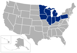 2010–14 Big Ten Conference realignment - Image: Big Ten USA states
