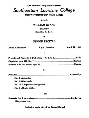Bill Evans - Program of Bill Evans' graduation concert. April 24, 1950.