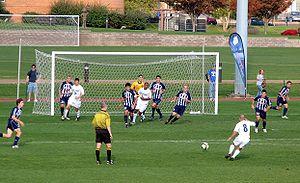 Saint Louis Billikens men's soccer - Billikens threaten to score against Duquesne (November 2, 2008).