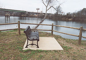 Black Warrior River - The Black Warrior River passes by a park in downtown Tuscaloosa.  The Hugh R. Thomas Bridge is seen in the background.