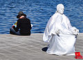 Black reader and white mime (Marseille, France).jpg