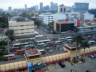 Kebayoran Baru - Blok M shopping center and terminal, with the Sudirman Central Business District in the background, are located in the Subdistrict of Kebayoran Baru, South Jakarta.