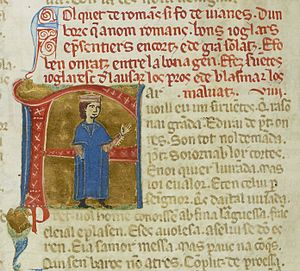 Falquet de Romans - A miniature of Falquet below his vida (red text)